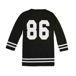 Wholesale Oversized Womens Shirts - Wholesale- 2017 T-Shirt Hot Marketing Fashion Womens T-Shirt Number 86 Oversized Short Sleeeve Loose Drop Shipping Free Shipping
