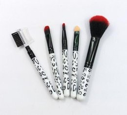 Wholesale Leopard Eyeshadow - Wholesale-NEW 5Pcs Makeup Blush Eyeshadow Leopard Brushes Lipstic Cosmetic Brushe Set Tool