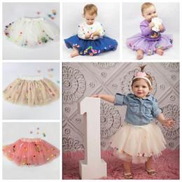 Wholesale Rainbow Tutus For Girls - 2017 girl tulle skirts fluffy baby tutu skirt rainbow color pom pom tutu skirt ballet tutus for girls birthday party pettiskirt ruffle cute