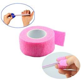 Wholesale Nail Finger Bandage - Wholesale- 10pcs lot Pink Finger File Bandage Strip Protection Flex Wrap Color Rolls Manicure Tool Nail Drill Accessory SKU:F0058XXX