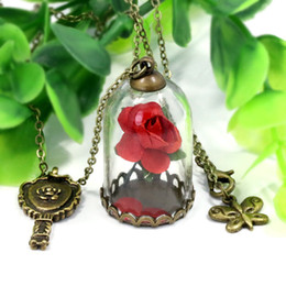 Wholesale Titanium 14k Gold Chains - 2017 Beauty and The Beast Necklace Rose In Terrarium Pendant His Beauty Her Beast Valentines Day Fairy Tale Victorian