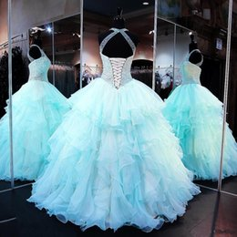 Wholesale cups pictures - Ruffled Organza Quinceanera Dresses 2017 High Neck Sleeveless Lace up Cups with Pearl Beaded Bodice Prom Ball Gown For 15 Years