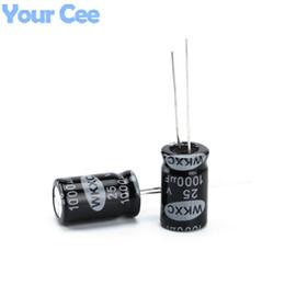 Wholesale electrolytic capacitor 25v - Wholesale- 100 pcs Electrolytic Capacitors 25V 1000UF 10X17MM Aluminum Electrolytic Capacitor