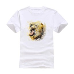 Wholesale Unique S - Lion roar New Fashion Man T-Shirt Cotton O Neck Short Sleeve Personalized unique Male Tops Tees Wholesale