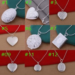 Wholesale 925 Locket Heart - wholesale 925 sterling silver filled heart round rectangle pendant necklace 18 inch chain necklaces fashion jewelry silver plated locket