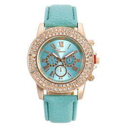 Wholesale Double Diamond Geneva Watches - Fashion Geneva Three eyes luxury watch Double diamond Quartz watches Ladies leather wristwatch golden dial fashion casual wrist watches