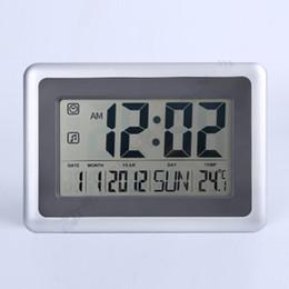 Wholesale Digital Lcd Calendar - 2017 new arrival Digital clocks fashion watches big LCD wall clock ABS Material living room decor free shipping