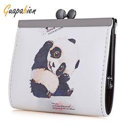 Wholesale Wholesale Clutch Purse Frames - Wholesale- Guapabien Kawaii 2016 Panda Fox Print Purse Coin Bag Fashion Cute Women Clutch Coin Purses Small Metal Frame Mini Change Case