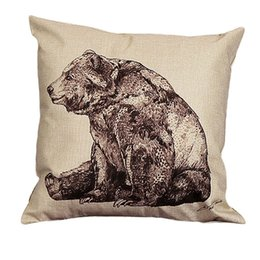 Wholesale Print Decals - Wholesale- Pillow Case 2017 square sitting Mr Bear pillowcase decal pillow slip home living room decal cushion case pillow case linen drop