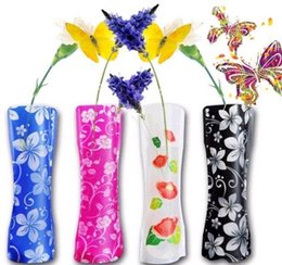 Wholesale Novelty Flower Vases - 500pcs Novelty Durable Folding Plastic PVC Flower Vase Using For Home Wedding Party Office Decoration Unbreakable 12*27cm ZA1552