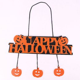 Wholesale Pumpkin Ornaments - Happy Halloween Decoration Pumpkin Pendant Door Hangings Window Ornaments Halloween Accessories Cloth Banner Pumpkin Decoration Wholesale