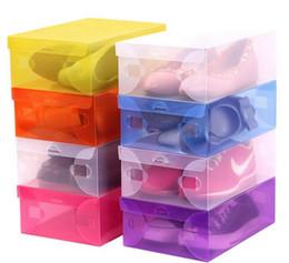 Wholesale Storage Box Boots Plastic - DIY Folding Shoebox Shoes Storage Boxes Transparent Boots Organizer Plastic Transparent Toughness Shoe Box Container