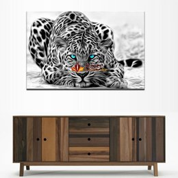 Wholesale Large Black Art Canvas - Large Canvas Art Modern Abstract white an black Leopards Home Wall Decor Wall Picture For Living Room HD Art Prints Free Shipping