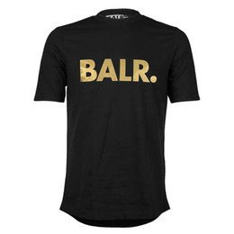 Wholesale Fashion Netherlands - Balr Classic Edge T shirt Golden Print Shirt Silver reflective BALR Euro size T shirt Netherlands, football blouse