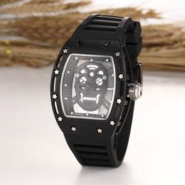 Wholesale Tonneau Skeleton Watch - 2016 New Luxury brand Skull sport Rose Gold quartz watch Casual Fashion Skeleton Watches men