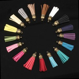 Wholesale Mobile Accessories Strap - Wholesle-Free Shipping 35mm 100cs lot Handmade Leather Tassel Charms Cell Mobile Phone Straps Accessories For Apple