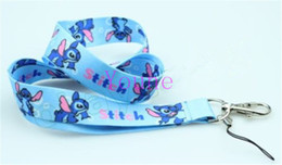 Wholesale Cartoon Lobsters - Free shipping Blue 20Pcs Lovely Stitch Strap Lanyard with Lobster Clasp Fit Key ID Mobile Cell Phone Keychain