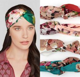 Wholesale Skull Hair Tie - New Stretch Twist Turban Silk Headband for Women Elastic Flower Print Hair bands Sport Headbands Wrap Bandana Girls Hair Accessories