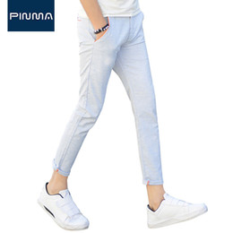 Wholesale Casual Dress Pants For Men - Wholesale- 2017 design mens pants slim fit summer dress blue gray lightweight casual business pant big size male Trousers for men 44 46 661