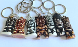 Wholesale Rock Accessories Men - free shipping 12 pcs Creative accessories imitated tiki totem rock keychain