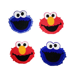 Wholesale Elmo Patches - 10pcs American Sesame Street Patches Red   Blue Cloth Strip Patch Embroidered Sesame Street Elmo Patches Sew-on Badges Iron-on patch