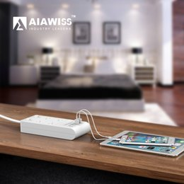 Wholesale Surge Wholesale - AIAWISS 4-Outlet Surge Protector Power Strip with USB Smart Charger (4 Port,5V 5A), 5.9ft Long Cord Extension(Type: US Plug)