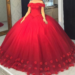 tulle quinceanera dress flower Coupons - Gergous Red Ball Gown Quinceanera Dresses with Charming Handmade Flowers Tulle Prom Sweet 16 Dress Cheap Custom Made Girls Birthday Dress