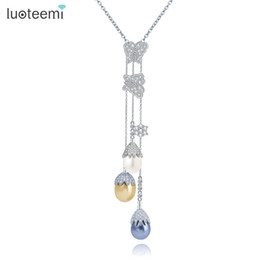 sea shell pearl pendant Promo Codes - ashion Jewelry Pendants LUOTEEMI New Elegant Long Chain Pearl Necklaces 3pcs Sea Shell Pearls with CZ Flower Pendant Necklace Women Jewel...