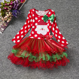 Wholesale Christmas Tutus Baby - Christmas Baby Girl Dress Red Festival Kids Tulle Costume For Girls Clothes Little Baby Tutu Dress Children's Clothing