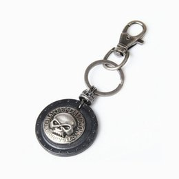 Wholesale Hip Hop Cars - Hip Hop Punk Skull Leather Keychain Keyring - Key Chains for Men Cowboy Rider - Punk Rock Motorcycle Keychain Key Holder