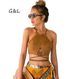 Wholesale Latest Tops Blouses - Wholesale-2016 Sexy Latest Faux suede Bandage Crop Tops Women blouse T shirts Fashion Autumn winter cotton long Sleeve Casual Camisole