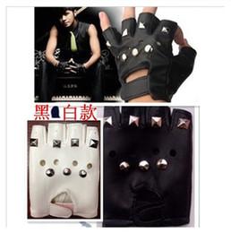 Wholesale Wholesale Fingerless Hip Hop Gloves - Wholesale- Hip-hop punk rivet half finger leather gloves mitring black hiphop