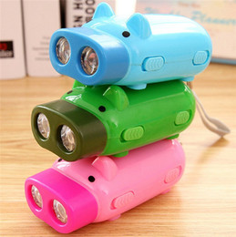 Wholesale Led Mini Pig Keychain Flashlight - Little Pig Shape Tube Mini Keychain LED Flashlight Torch Outdoor Camping Hiking Portable Lights Hand Pressing Power With Retail Box