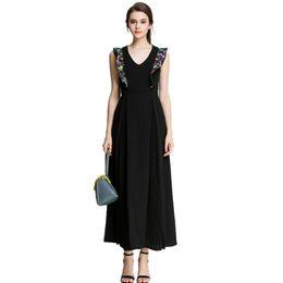 699b81c8fa45 Runway Dresses 2017 Women High Quality Vintage Embroidery Black Long Maxi  Dress Sleeveless Summer Chiffon Dress Vestido Longo