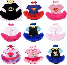 Wholesale Wholesale Blue Ruffle Skirt - Baby Superman Superwomen Birthday romper dress Onesies Dress tutu skirt lace ruffles Blue Pajamas PJ'S + infant ins Bowknot headband 6Sets