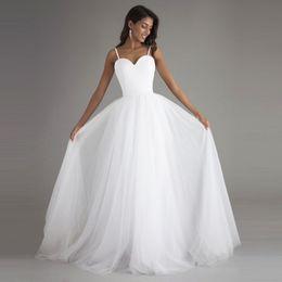 Wholesale Designer Bridal Dress Wedding Gown - Sexy Simple Cheap Beach Wedding Dresses Designer 2017 Spaghetti Straps A Line Tulle Summer Handmade Bridal Gowns Vestidos De Novia