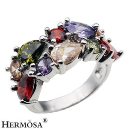Wholesale Gemstone 925 Silver Jewelry - 925 Sterling Silver Wedding Ring Natural Gemstone Garnet Amethyst Peridot Morganite Rhinestone Bling Women Jewelry Gift Ring Size 8