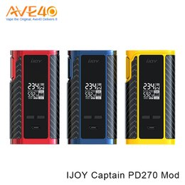 Wholesale Unique Custom - Authentic iJoy Captain PD270 TC Box Mod 234W with 2pcs 20700 Batteries 6000mah Firmware Upgradeable Unique Custom User Mode 100% Original