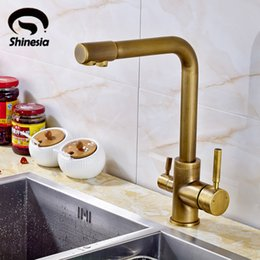 Wholesale Antique Sink Water Taps - Wholesale- Antique Brass Kitchen Sink Pure Water Faucet Swivel Spout Mixer Tap with Purified Water Outlet