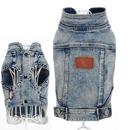 Wholesale Winter Autumn Outfits - Dog Denim Coat Pet Jeans Jacket Outer Wear Garment Small Dog Clothes Denim Vest Autumn Winter Clothing Pet Costume Outfit