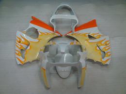 Wholesale Yellow Zx6r Fairing - ABS Fairing Ninja ZX-6r 2002 Full Body Kits 636 ZX-6r 00 White Yellow Flame Bodywork ZX6r 636 2000 2000 - 2002