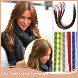 Wholesale Synthetic Feather Extensions - Wholesale- 100pcs I Tip Hair Extension+150beads+1hook 16'40cm Women Grizzly Feather Synthetic Loop Hair Extension Mixed Color For Party