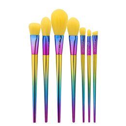 La più nuova spazzola di capelli gialla abbaglia gli strumenti di trucco della spazzola di trucco della maniglia di colore 7pcs che spedice liberamente il venditore di dhgate vip da spazzole di trucco giallo fornitori