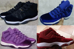 Wholesale Womens Discount Basketball Shoes - Retro 11 Velvet Heiress Red Black Mens Womens Basketball Shoes Sneakers Athletics Sports Shoes Discount Sports Women Mens Basketball Shoes
