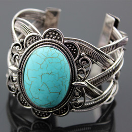 Wholesale Turquoise Bracelet For Parties - Vintage Exotic Exaggerated Metal Tibetan Silver Oval Natural Stone Turquoise Retro Bangle Cuff Bracelet Gift For Women