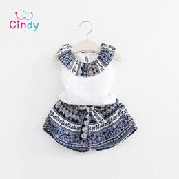 Wholesale Grils Sets - Wholesale- Grils Fashion Clothing Sets 2016 Brand Girls Clothes Kids Clothing Sets Sleeveless Whirte T-Shirt + Short 2Pcs Suits