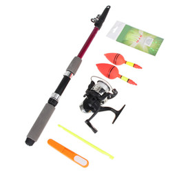 Wholesale Neoprene Handles - Wholesale- 1.8m 1.5m Compelet Starter Portable Tackle Neoprene Handle Screw Adjustable Reel Mount Fishing Rod Reel Kit Floats Hooks Sets