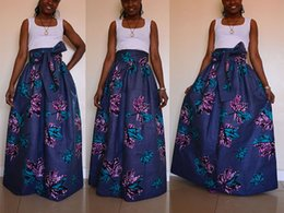 Wholesale High Waist Ball Gowns - 2017 African Women Boho Dashiki Purple Leaves Dresses Cocktail Clubwear high waist Pleated Skirt National characteristic Maxi Dress