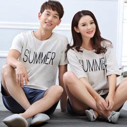 Wholesale Summer Lovers Sleepwear - Wholesale- Good Quality Lovers Homewear Pajamas Set For Female Women Sleep Casual Nigthwear Summer Couples Sleepwear Short Sleeve Pyjamas