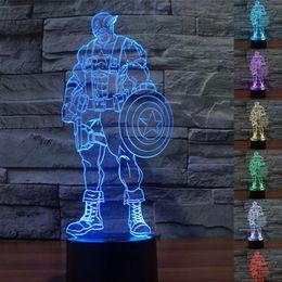 Wholesale Captain 3d - captain America Style 3D Night Lamp Optical Night Light 9 LEDs Night Light DC 5V Factory Wholesale